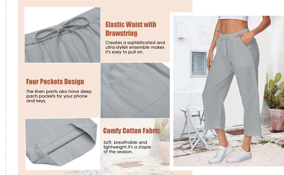 linen cropped pants women