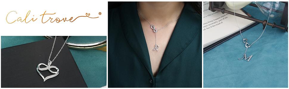 Diamond Infinity Heart Pendant,Infinity Alphabet Initial Letter A-Z Lariat Pendant necklace