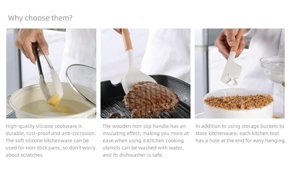 Silicone Kitchen Cooking Utensils Set