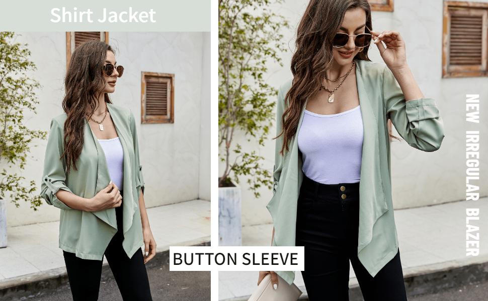 Women laber office blazer long sleeve cardigan jacket shirts