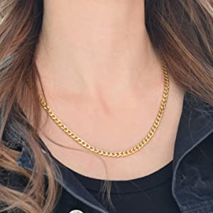 Cuban curb chain VIROMY Cuban Chain Necklace 18K Gold Plated Curb Chain Choker Necklace for Women