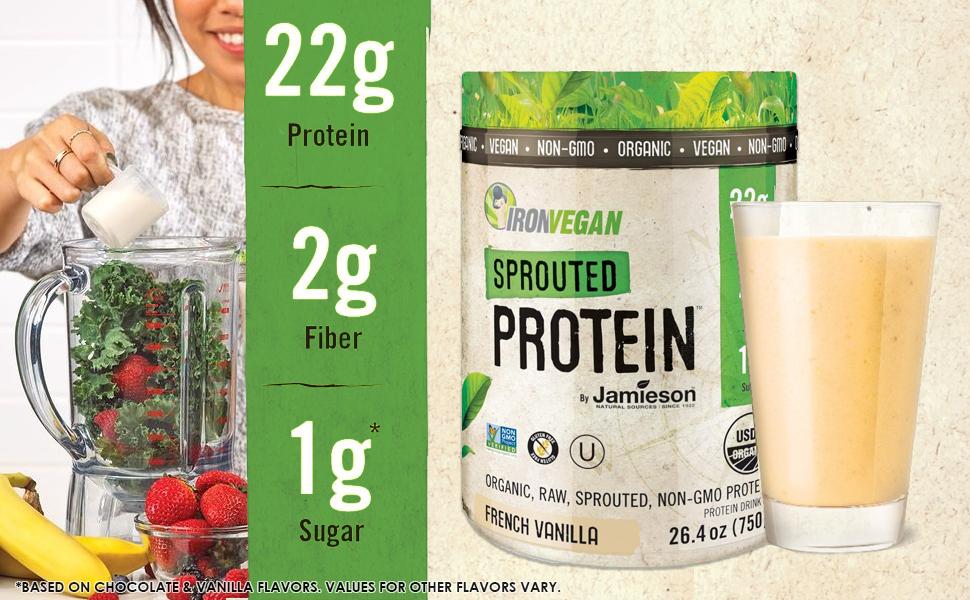 protein powder vegan plant based plantbased athlete workout smoothie vanilla organic raw sprouted