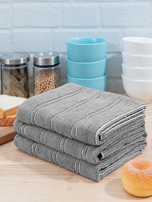 gray kitchen towels