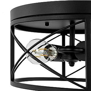 WINGBO 11.8-Inch Industrial Ceiling Light Fixture, Farmhouse Semi Flush Mount for Kitchen Island