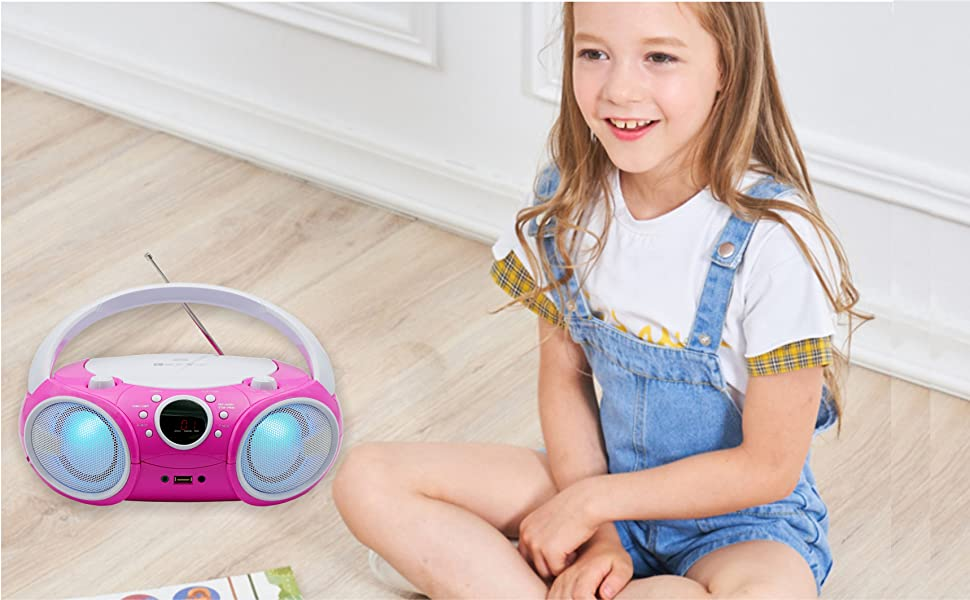 Singing Wood Kids CD Player with LED dancing light