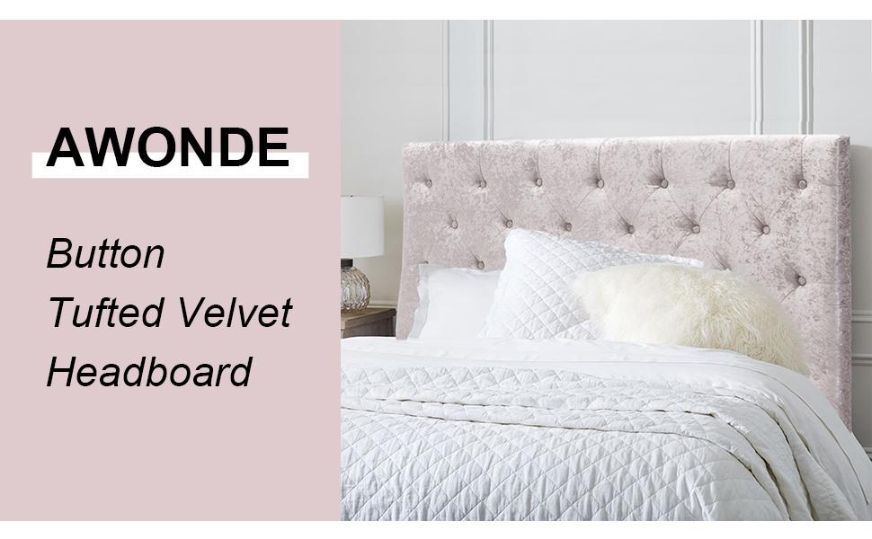 Button Tufted Velvet Headboard