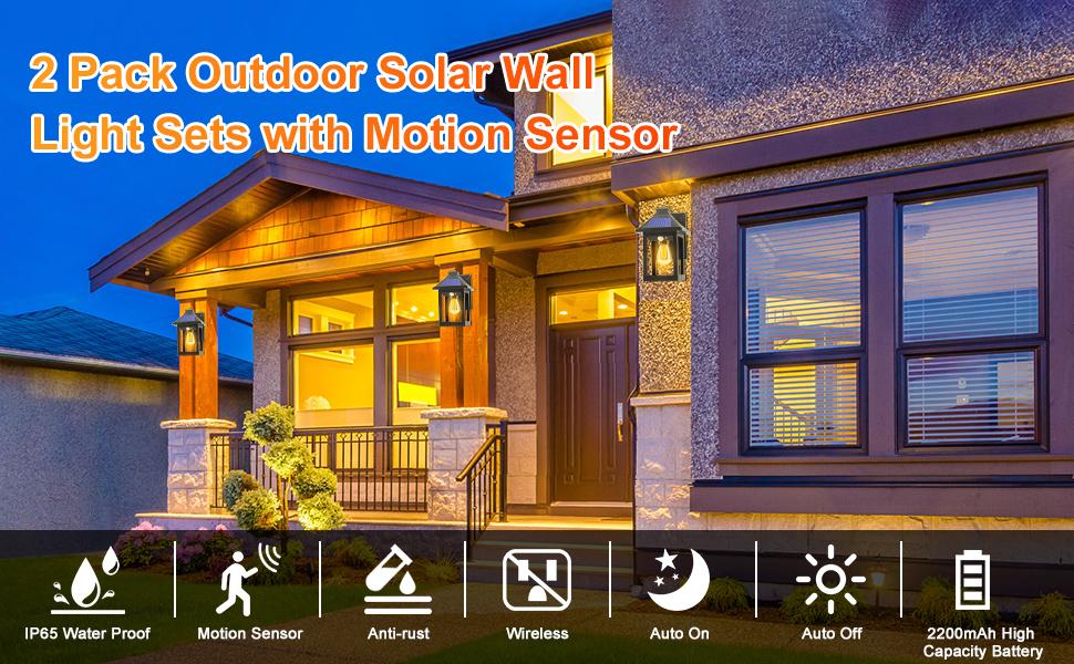 2 pack outdoor solar wall light sets
