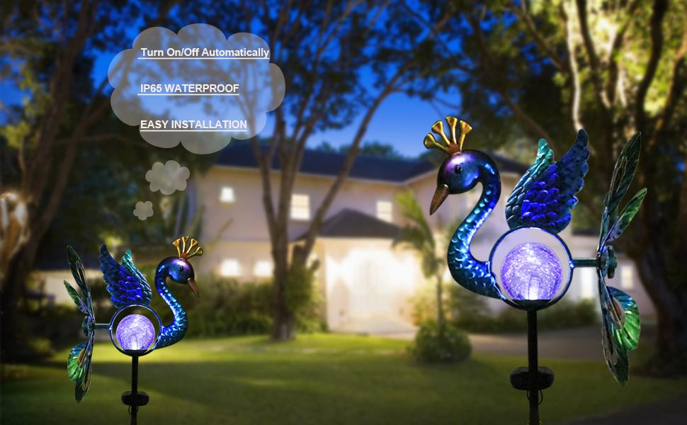 solar peacock lights