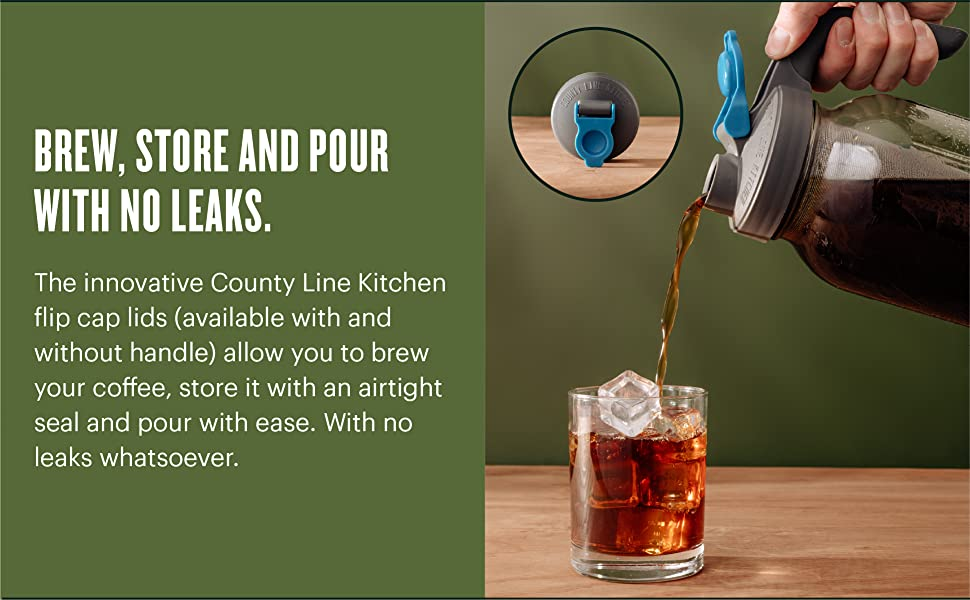 Our flip cap lids allow you to brew your coffee, store it with an airtight seal, and pour with ease
