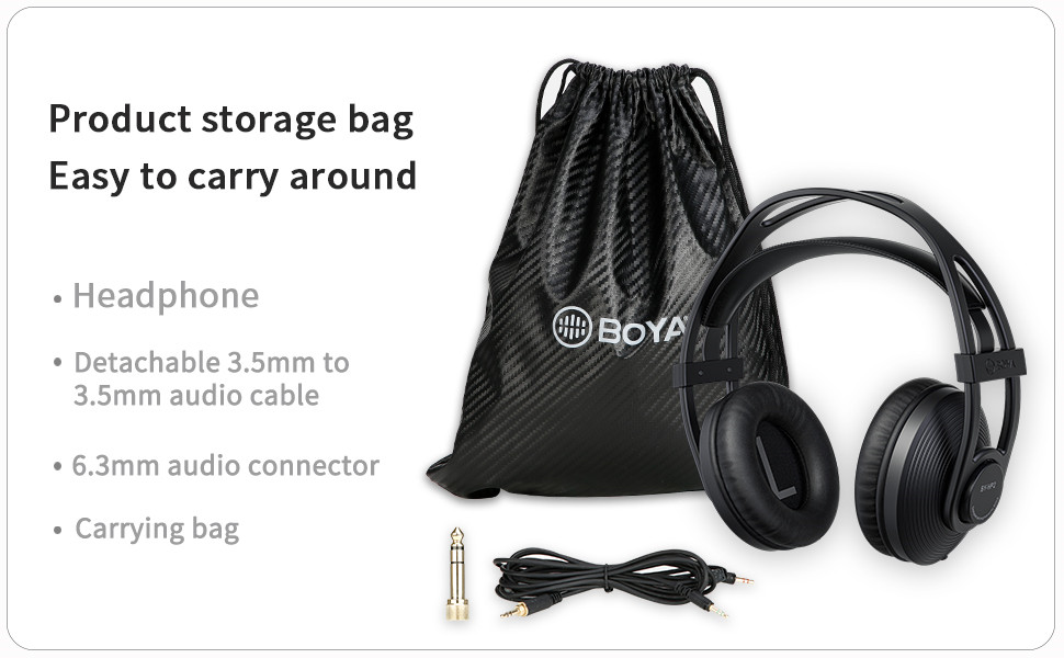 BOYA Professional Monitor Over Ear Headphones BY-HP2, for Travel, Studio, Movie , Home Office