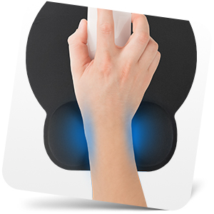 Person's hand using mouse and mouse wrist support