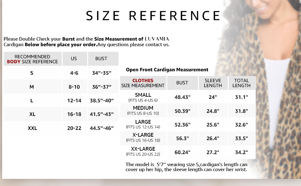 Cardigan Size reference