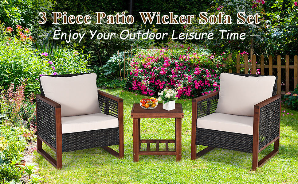 3 pieces patio wicker sofa set