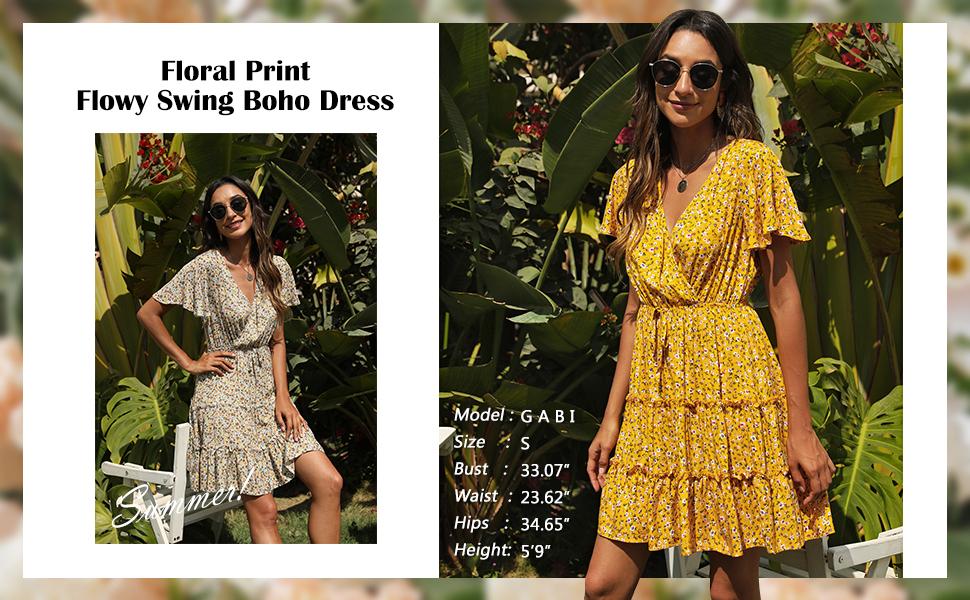 Summer Flutter Sleeve Swing Boho Dress