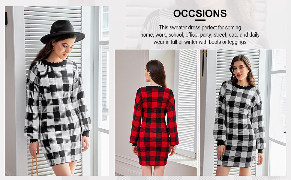 Women's Long Sleeve Plaid Knitted Tunic Pullover Sweater Dress