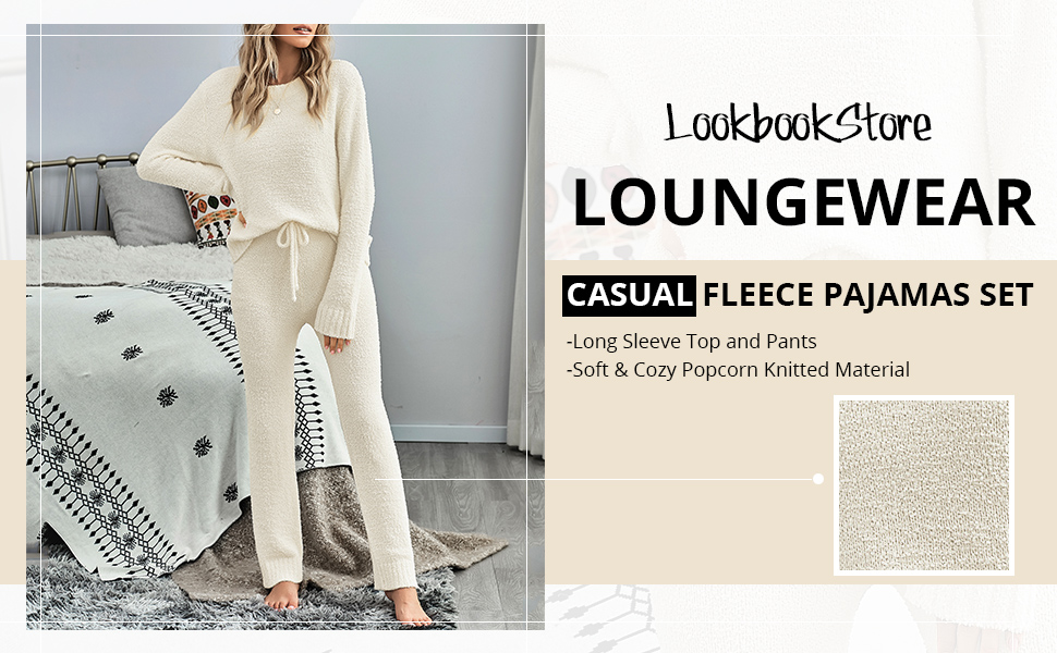 Women's Casual Pajamas Sets Long Sleeve Tops and Pants Knitted Pjs Loungewear