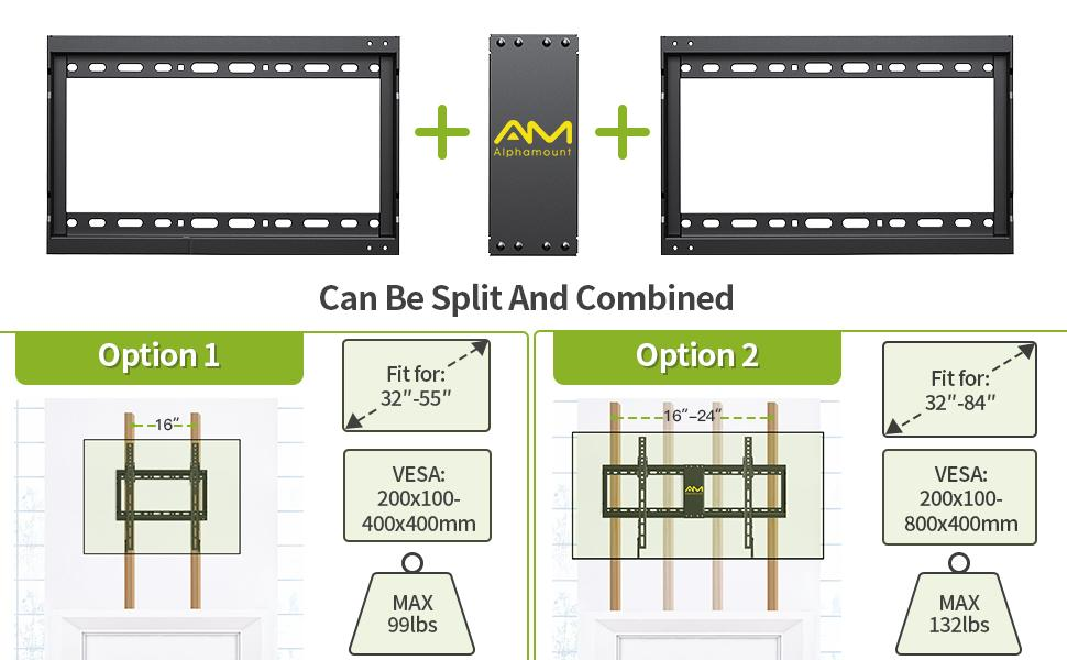 Buying is saving. You can split or combined the mount bracket for different size of TVs
