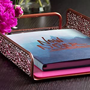 Rose Gold Desk Set Paper Tray