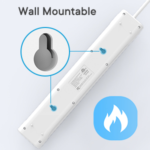 mountable power strip with fire-retardent material