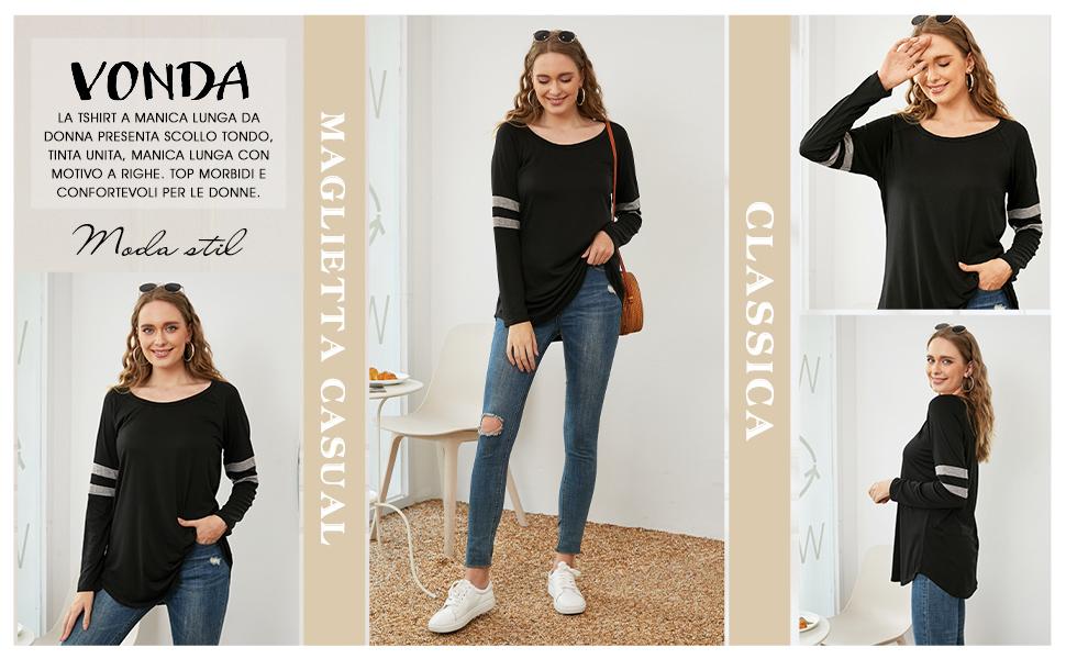 Maglia donna a Manica Lunga Maglietta Inverno Camicette donna elegante Top donna Basic Shirt donna