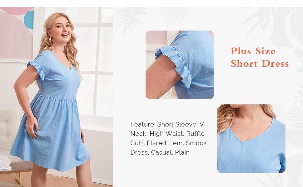 Milumia Women Plus Size V Neck Short Sleeve Short Dress High Waist Flared Smock Dress