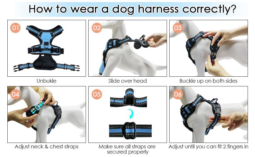No Pull Dog Harness Adjustable Reflective Easy Control Pet Harness Padded Dog Vest Harness Dog Leash