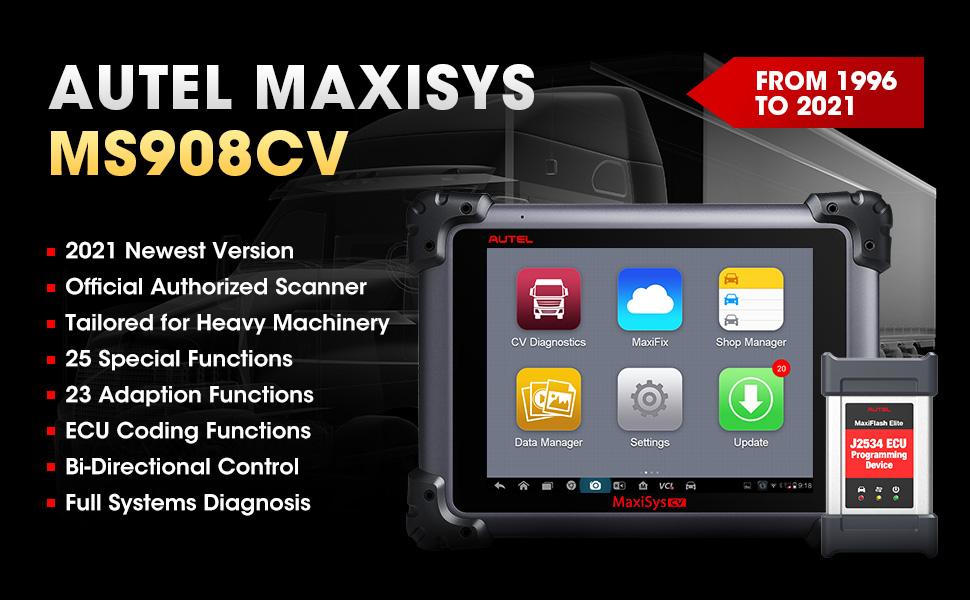 2021 Autel Scanner MS908CV for Heavy-Duty Vehicles