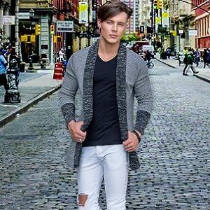 Mens Classic Fashion Marled Open-Front Shawl Collar Cardigan