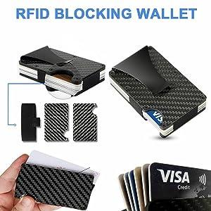 tarjetero cartera carteras tarjeta de credito hombre y mujer para rfid metalico fibra de carbono