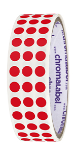 red removable dots, stickers, sticky, labels, roll