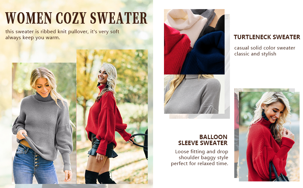 high neck sweater jumper thick knit pullover tops loose fitting sweater for women