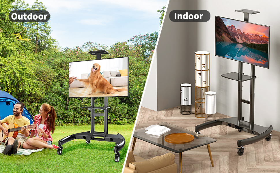 Rolling TV stand for indoor and outdoor