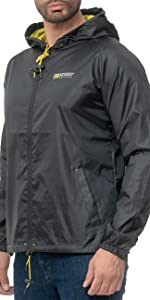 Men's rain jacket in black with hood