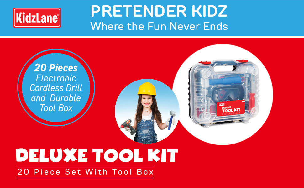 Kidzlane tool kit with carrying case tool set for kids pretend play tool set with drill ages 3+