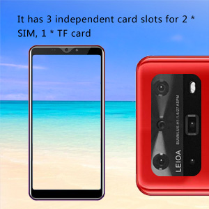 It has 3 independent card slots for 2 * SIM, 1 * TF card