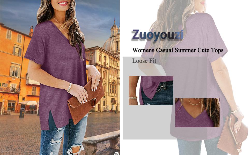 Zuoyouzi Women's Casual Summer Tops V Neck Short Sleeve Side Slit T Shirts