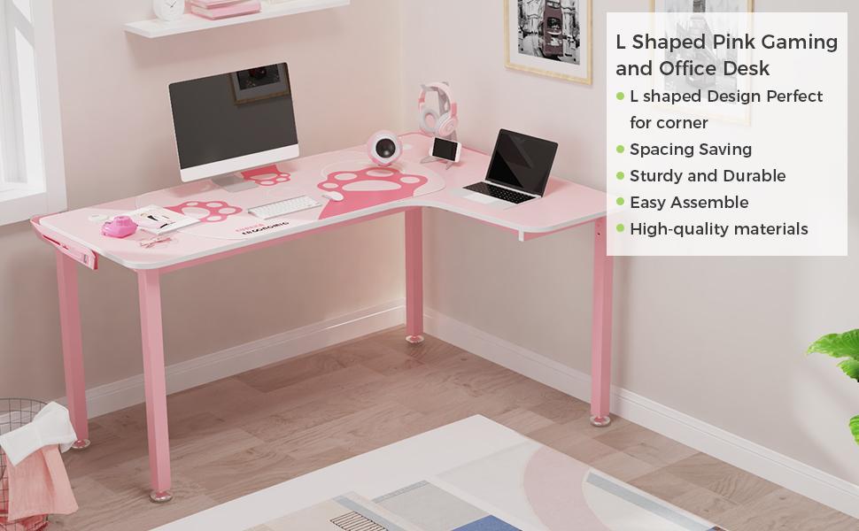 EUREKA ERGONOMIC L Shaped Desk, 60 inch Computer Desk for Girl with Mouse Pad