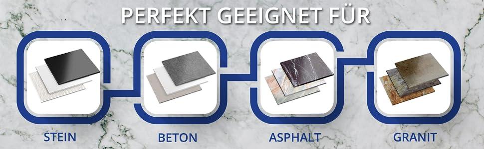Perfect geschikt voor: Steen, beton, asfalt, graniet