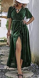 Velvet Wedding Guest Velour Dress