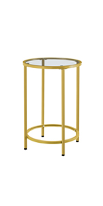 Round Accent Table with Glass Top and Metal Frame