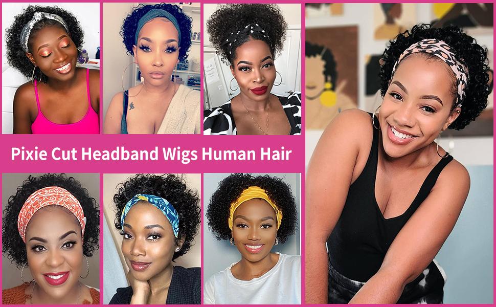 Pixie Cut Headband Wig Human Hair