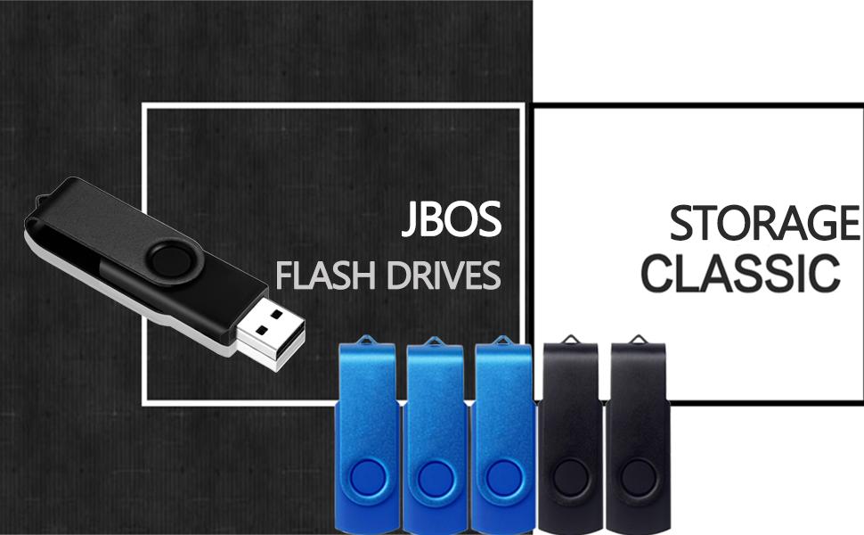 JBOS Flash Drives Pack of 10 Blueamp;Black