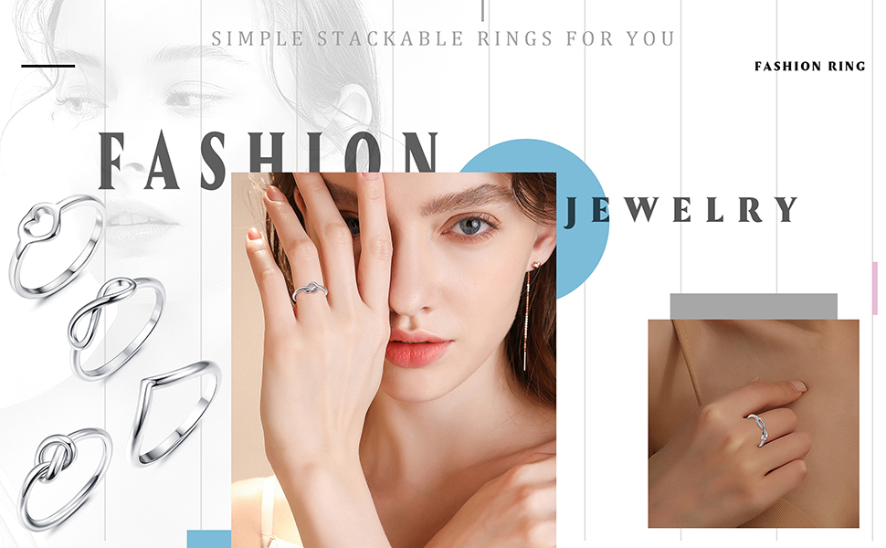Stainless Steel Engagement Wave Ring for Women Stackable