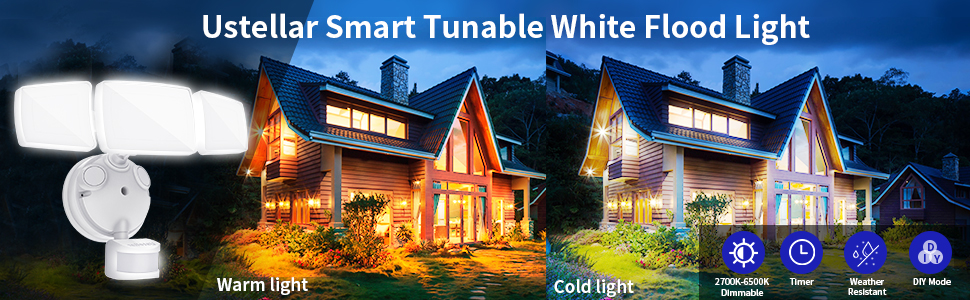Tunable white floodlights