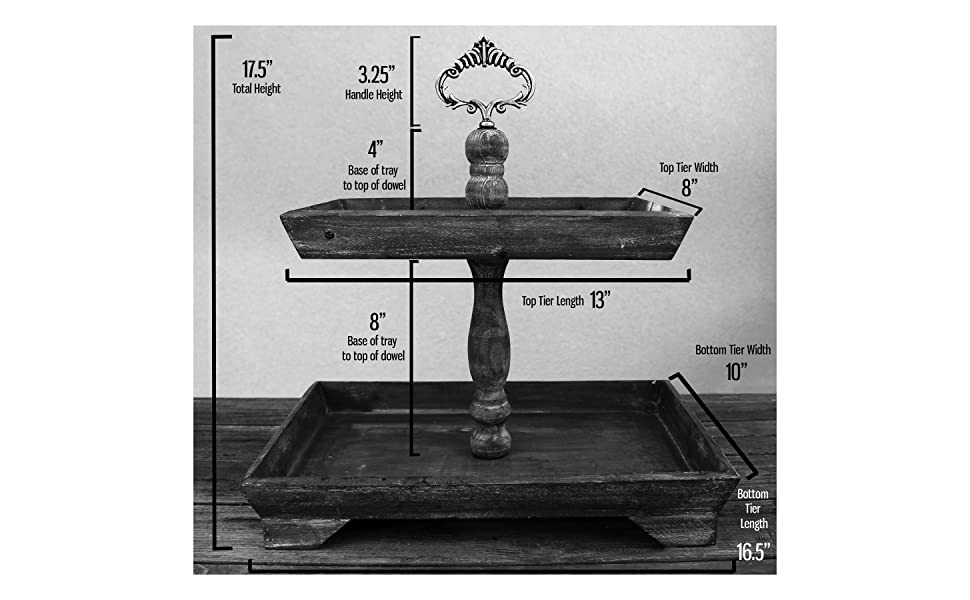 tiered tray rustic farmhouse display serving cupcake stand barnwood chippy kitchen home decor table