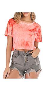 Women Tie Dye Crop Top Cute Sexy Navel T Shirt Short Sleeve Casual Loose Summer Tee Shirts