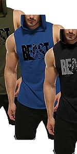 Gym sleeveless hoodies for men