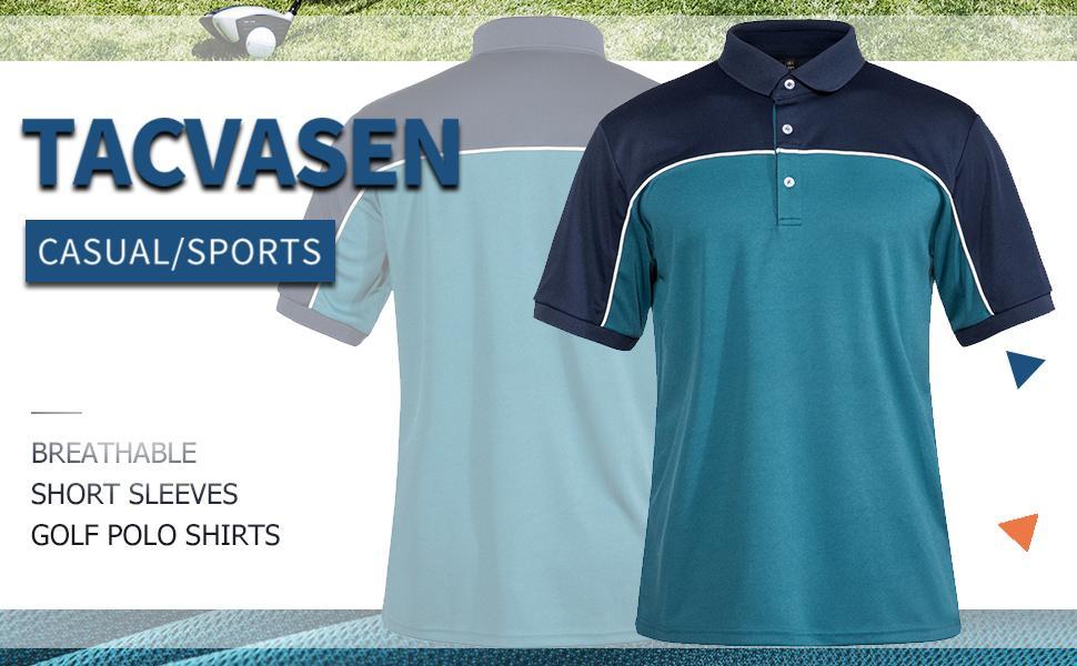 Men's Golf Polo Shirts 3 Button Short Sleeve Performance Polo Tee Shirt