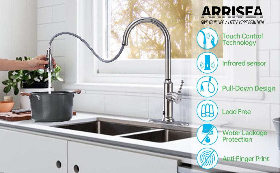 ARRISEA toucheless kitchen sink faucet