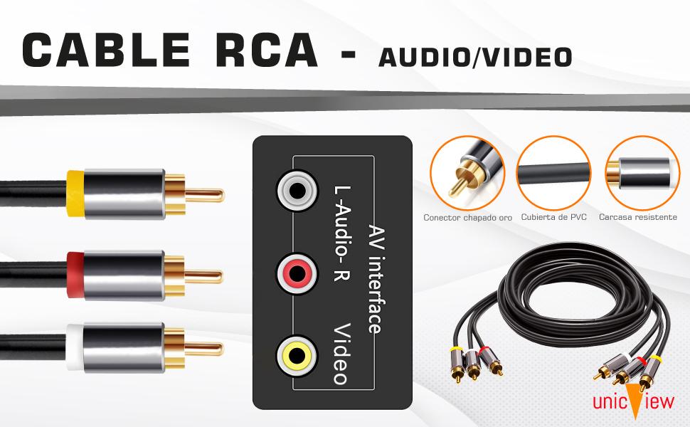 cable rca 3 metros, cable rca audio y video, cable audio para amplificador